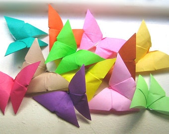 100 3D small Multi-color Origami Paper Butterflies in 12 colors card topper