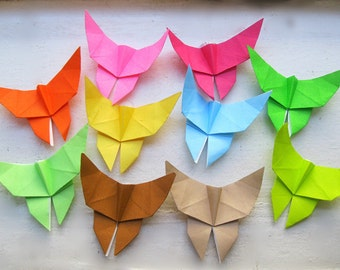 100 small  Multi-color Origami Paper Butterflies in 10 colors many colors card topper