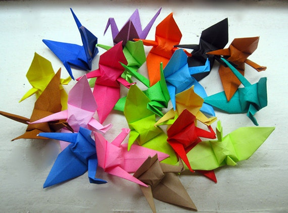 "On Sale & 100 6"" Big Large origami cranes paper cranes in custom colors wedding party decoration Christmas Tree Ornament Decoration"