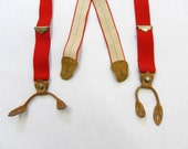Vintage Red Button Tab Suspenders / 1970s L.L. Bean Leather Tab