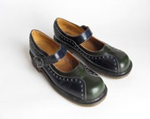 Doc Martens Mary Janes - US 8 - 90s Shoes - Two tone Blue/Green -  UK 6