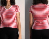 Red and White Striped Tshirt - 80s Cap Sleeve Tee S M