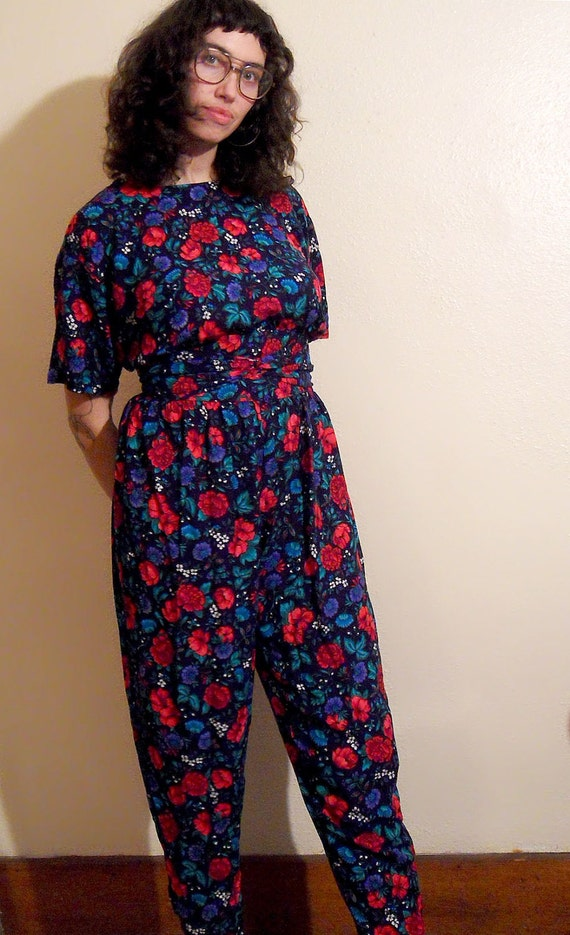 9ce2d8bc2bfb Items Similar To Floral Jumpsuit - 90s Jumper M - Highwaisted 1990s  Patterned One Piece Suit