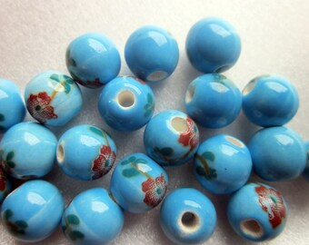 8mm Blue and Red Porcelain Flower Beads 20 Beads