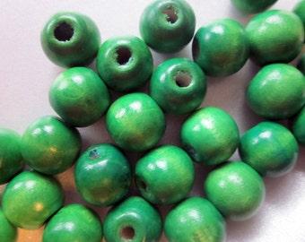 SALE - Green Wood Beads Round Chunky 13mm 20 Beads