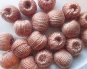 Tan Woven Beads Chunky Round 20mm 8 Beads