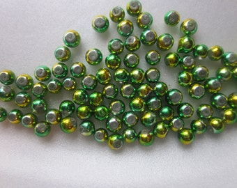 SALE - Green/Gold Round Glass Beads 4mm 15 Beads