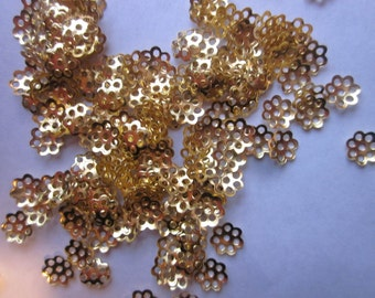 Gold Plated Flower Bead Caps 6mm 100 Beads Caps