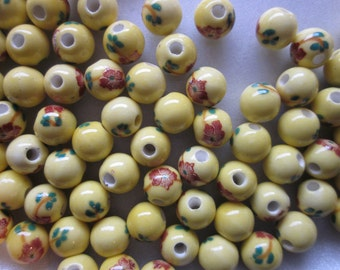 SALE - Yellow Porcelain Beads Round Yellow Flower 8mm 20 Beads
