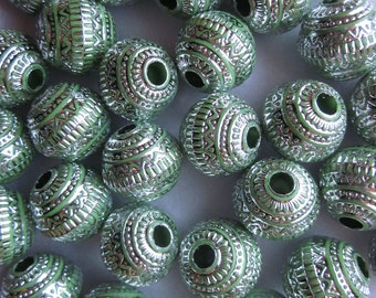 Green and Silver Acrylic Beads 19.5mm 20 Beads
