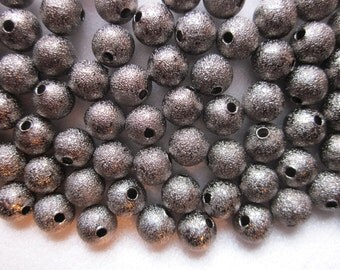 Dark Grey/Silver Stardust Beads 8mm 16 Beads