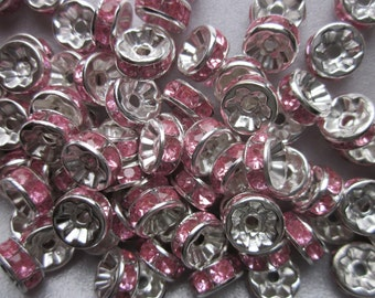 Pink Rhinestone Iron Spacer Beads 8mm 30 Beads