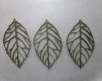 SALE - Antique Bronze Iron Leaf Pendants 54x31mm 2 Pendants