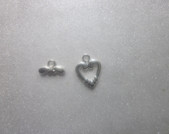 Silver Plated Pewter Heart Toggles 14mm 3 Toggles