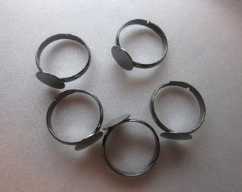 SALE - Adjustable Brass Ring - Black - 17mm 5 Rings