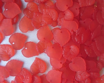 Red Leaf Frosted Acrylic Pendants Leaf Plastic Charms16mm 14 Pendants