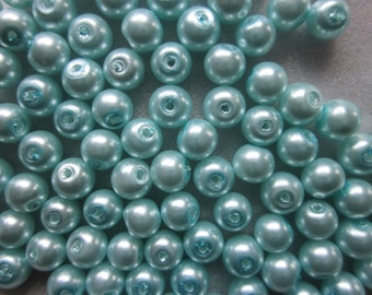 SALE - Blue Glass Pearl Beads 6mm 20 Beads