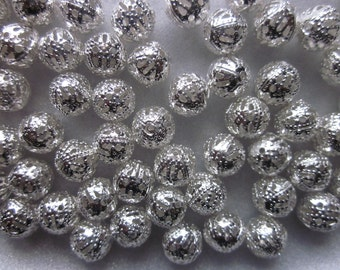 Silver Plated Metal Hollow Beads 8mm 20 Beads