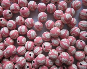 Coral Polymer Clay Beads 8mm 20 Beads