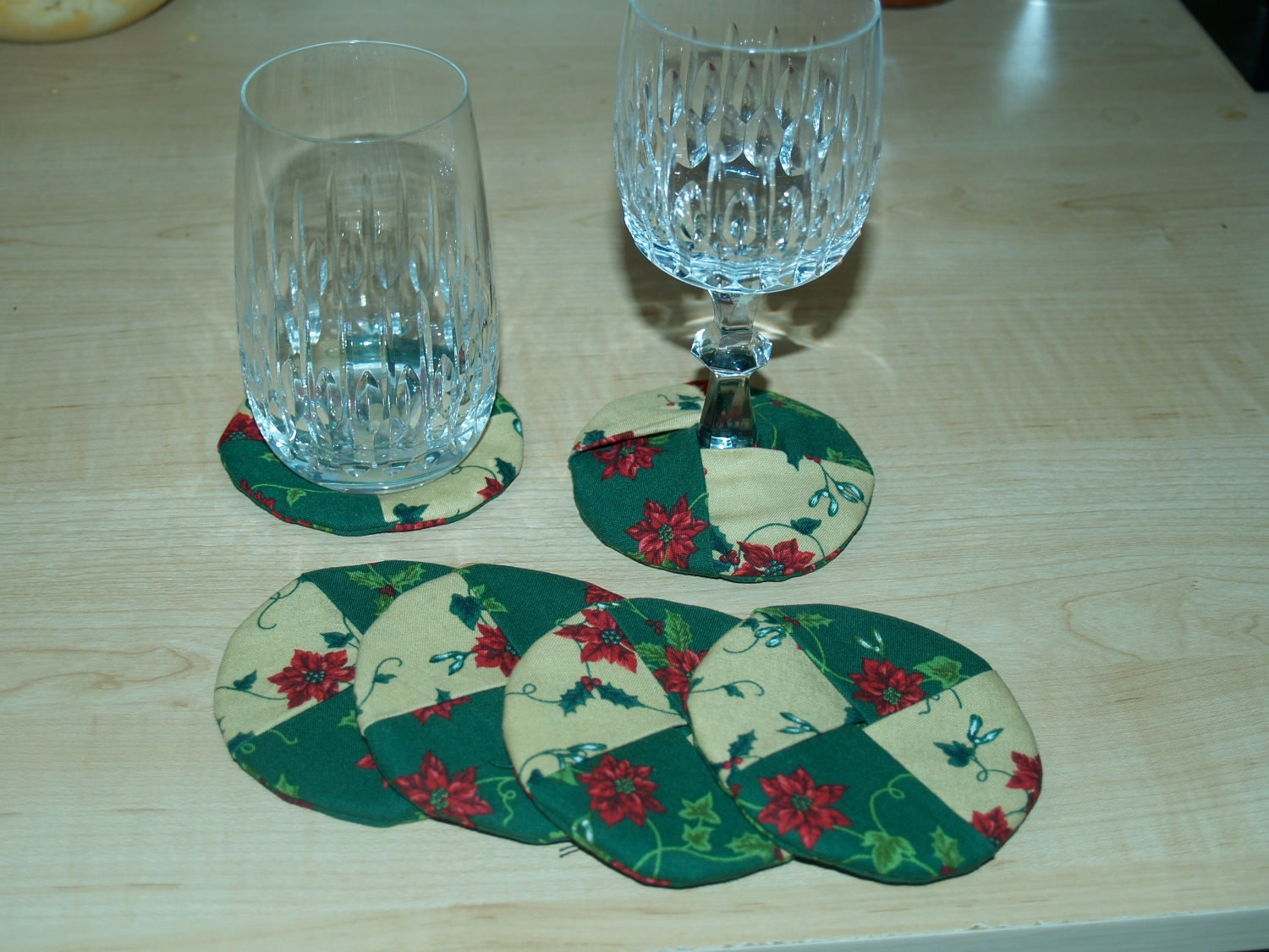 Fabric Wine Drink Coaster Set Of Six