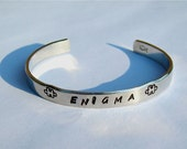 Enigma Aluminum Cuff Bracelet - Hand Stamped with puzzle peices