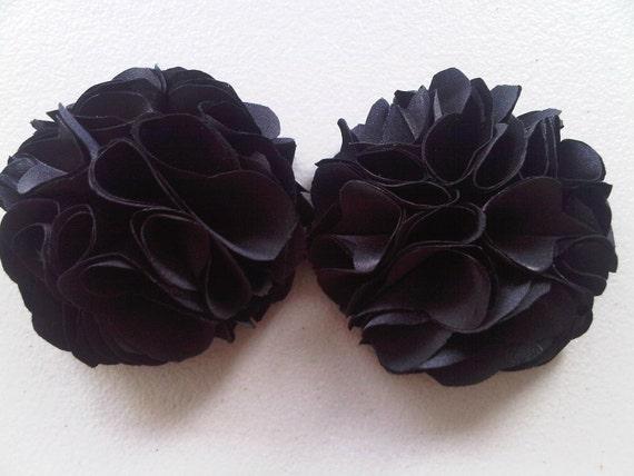 Shoe Clips - Black Satin