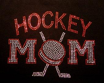 Women's rhinestone Hockey Mom shirt
