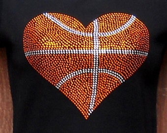 Women's rhinestone Basketball heart shirt