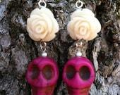 Cream Color Rose and Fuscia Skull Earrings