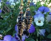 Black Cloisonné Fish Dangle Earrings
