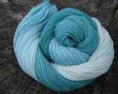 Hand Dyed Sock Yarn - Gradient Dyed Teal - Superwash Merino Wool