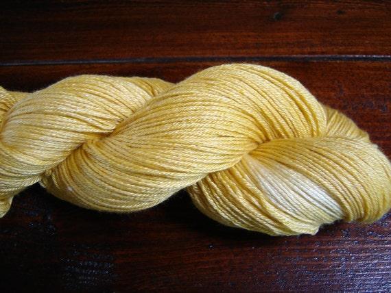 SALE - Hand Dyed Sock Yarn - Silk and Merino 50/50 - Golden Child