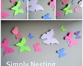 3d Wall Butteflies...Set of 20 Assorted Butterflies...Shades of pinks, green and purples