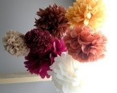 Thanksgiving tissue paper pom poms...7 pom poms...fall theme, fall pom poms, thanksgiving pom poms, fall party, fall wedding, rustic, table