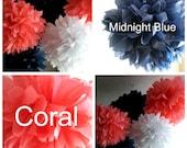 Navy and Coral Theme Pom Set, Nautical Theme Poms, 7 Tissue Paper Pom Poms, Birthday Party, Wedding, Baby Shower, 1st Birthday, Nursery