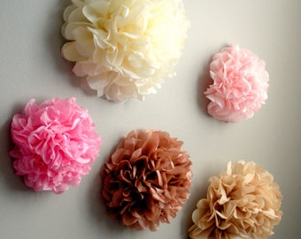 7 Tissue Paper Pom Pom Wall Flowers...choose your colors...nursery wall decor