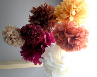 Thanksgiving tissue paper pom poms...7 pom poms...fall theme, fall pom poms, thanksgiving pom poms, fall party, fall wedding, rustic, table