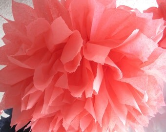 1 Coral Tissue Paper Pom Pom, Paper Pom Pom, Wedding Pom, Nursery Decor