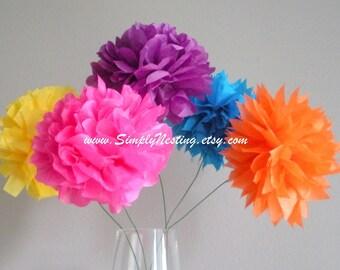 paper pom poms...pom flowers...long stemmed...pick your colors...set of 10