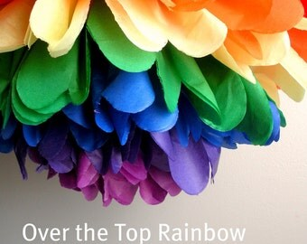 1 Rainbow Tissue Paper Pom Pom, Tissue Paper Pom Pom, Rainbow Theme Party, Art Party Pom Pom
