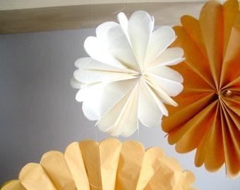 tissue paper pom poms...5 pom wheels...pom medallion...pick your colors