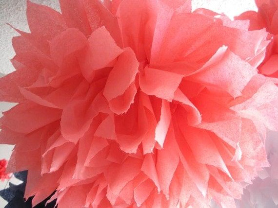 1 Coral Rose Tissue Paper Pom Pom, Paper Pom Pom, Wedding Pom, Nursery Decor, Nautical Theme Birthday Party, Coral Pom Poms, Coral