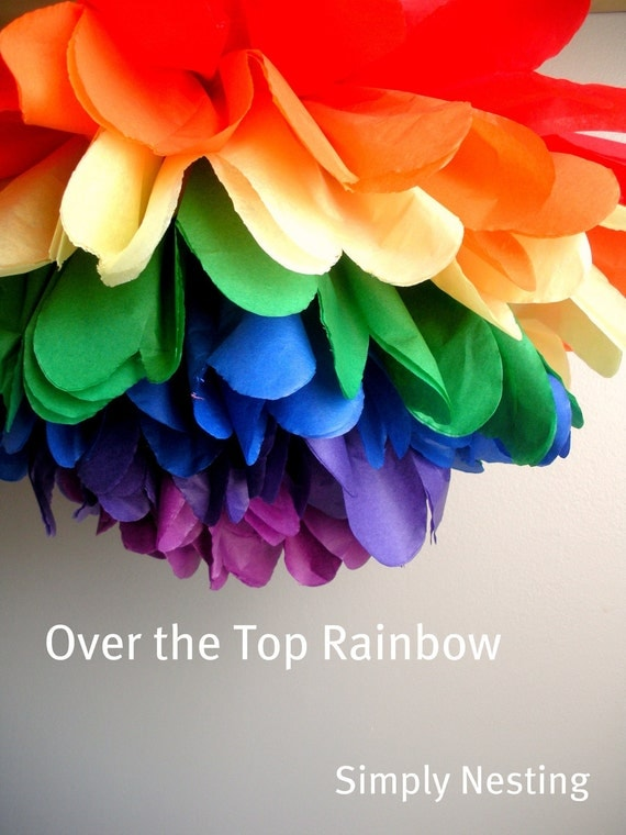 SPRINGSALE 1 Rainbow Pom Pom, Tissue Paper Pom Pom, Rainbow Theme Party, Art Party Pom Pom