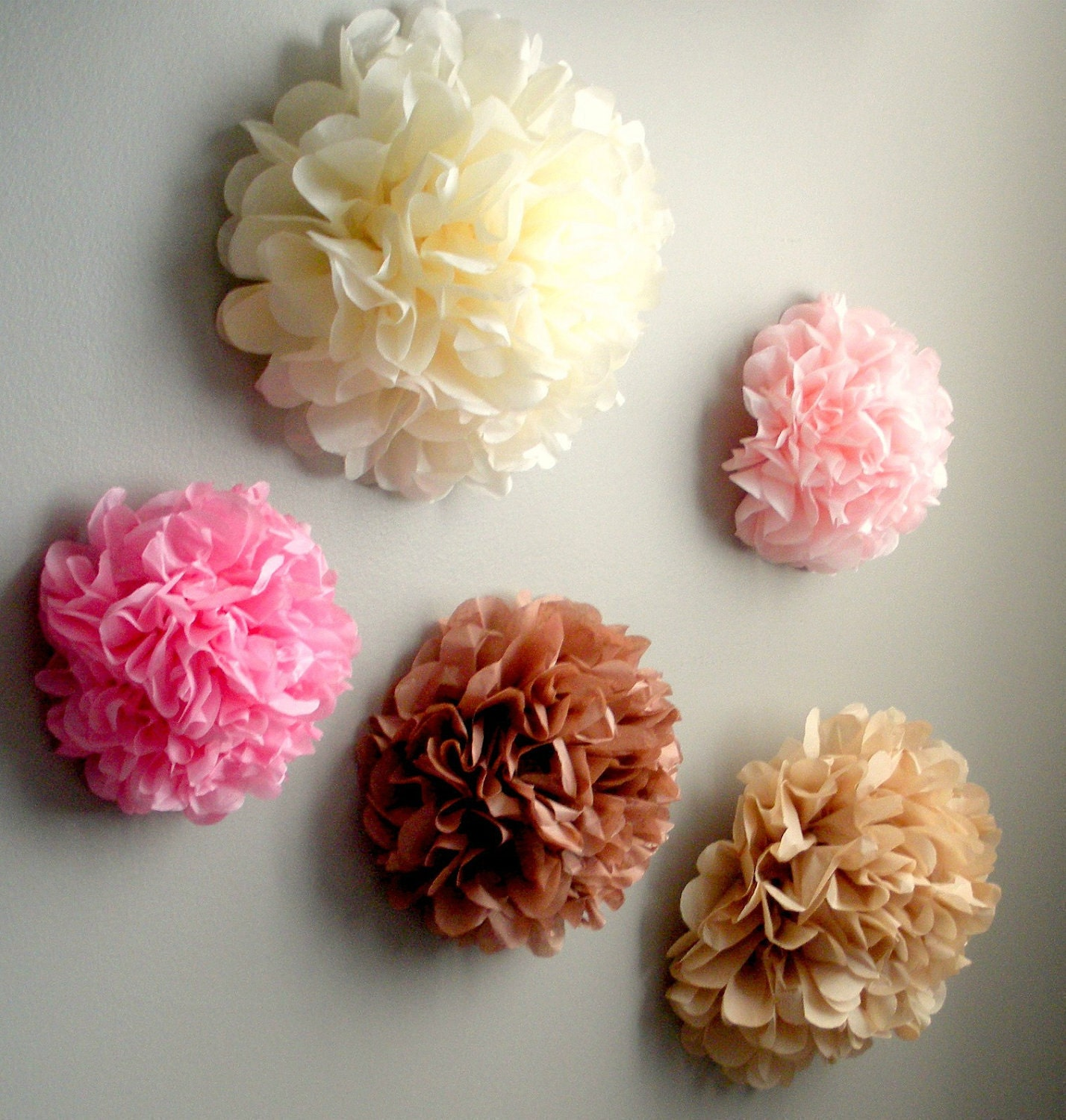 5 tissue paper pom pom wall flowers choose your for Flower decoration made of paper