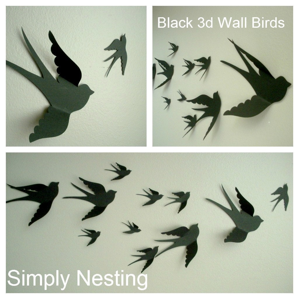 3d Paper Wall Birds 3d Wall Art Nursery Wall By