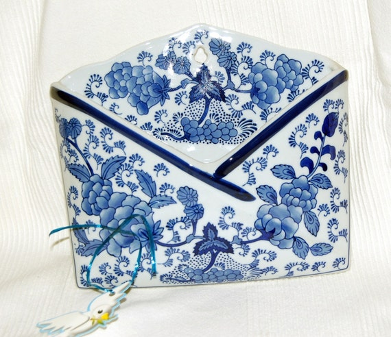 Blue And White French Country Wall Pocket Letter