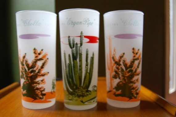 Set of 3 Anchor Hocking Frosted Cactus Lemonade Glasses
