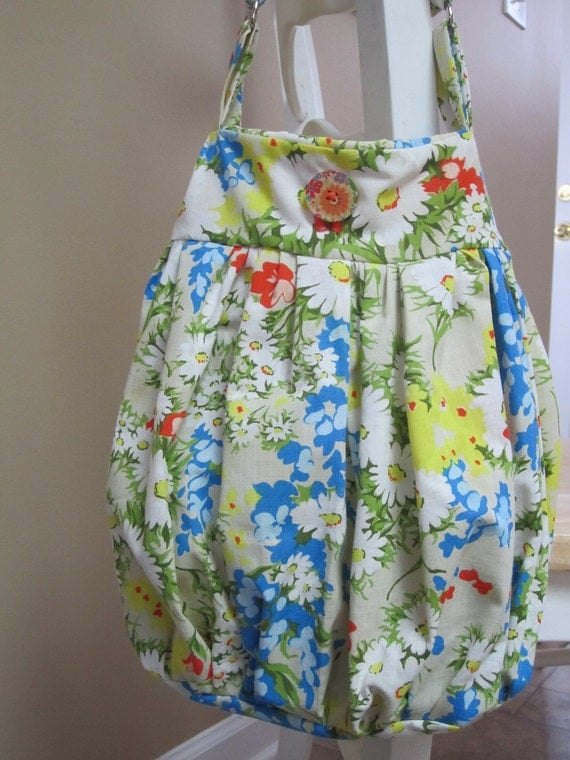 Upcycled Flower Table Cloth Tote