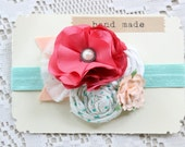 Baby Girl Headband - Flower Headband - Coral Pink Mint