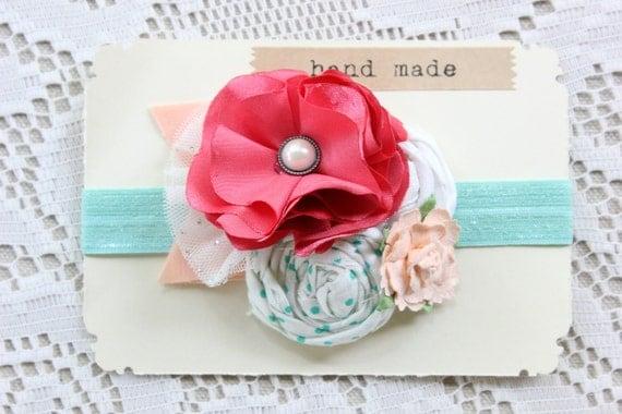 Baby Girl Headband - Flower Headband - Coral Pink Mint